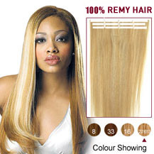 16 inches Blonde Highlight (#27/613) 20pcs Tape In Human Hair Extensions