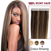 16 inches Brown Blonde (#4/27) 20pcs Tape In Human Hair Extensions