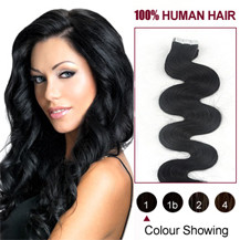 16 inches Jet Black (#1) 20pcs Wavy Tape In Human Hair Extensions