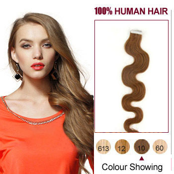 16 inches Light Brown 20pcs Wavy Tape In Human Hair Extensions