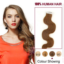 "18"" Light Brown 20pcs Wavy Tape In Human Hair Extensions"