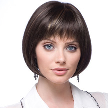 10 inches Human Hair Lace Front Wig Straight Dark Brown