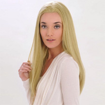 "18"" Human Hair Full Lace Wig Straight Ash Blonde"
