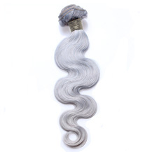 "22"" Silver Grey Hair Extensions Body Wave Gray Hair Weaves"
