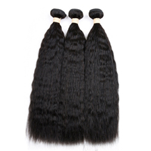 12 inches Weft 1B# Natural Black Kinky Yaki Straight 3PCS