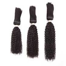 16 inches 18 inches 20 inches Wefts 1B# Natural Black Braid In Bundles Curly 3PCS