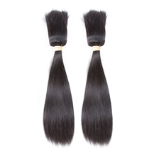 "10"" Weft 1B# Natural Black Braid In Bundles Straight 2PCS"