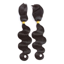 10 inches Weft 1B# Natural Black Braid In Bundles Body Wave 2PCS