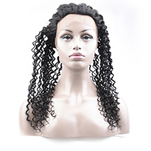22 inches 360 Natural Black Curly Full lace Human closure wig