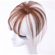 Light Brown One Clip on Hairpiece with 3D fringe Hair Topper For Woman