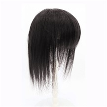 "12"" Natural Black Three Clips on Hairpiece with 3D fringe Hair Topper For Woman"