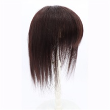 "12"" Dark Brown Three Clips on Hairpiece with 3D fringe Hair Topper For Woman"