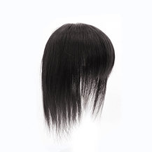 Natural Black Three Clips on Human Hairpiece with 3D fringe Human Hair Topper For Woman