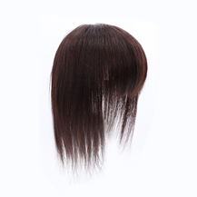 "12"" Dark Brown Three Clips on Human Hairpiece with 3D fringe Human Hair Topper For Woman"