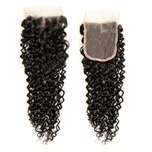8 inches Lace Frontal Closure #1B Natural Black Human Hair Extensions Kinky Curly