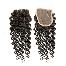 8 inches Lace Frontal Closure #1B Natural Black Human Hair Extensions Deep Wave
