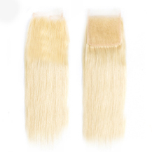 """10"""" Lace Frontal Closure #613(Bleach Blonde) Human Hair Extensions Straight"""
