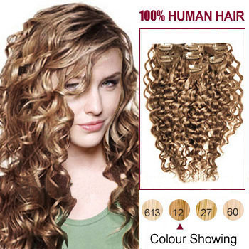 22 inches Golden Brown (#12) 7pcs Curly Clip In Indian Remy Hair Extensions