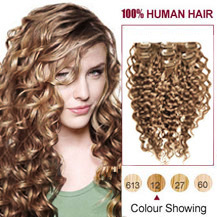 24 inches Golden Brown (#12) 9PCS Curly Clip In Indian Remy Hair Extensions