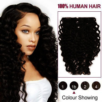 26 inches Natural Black (#1B) 7pcs Curly Clip In Indian Remy Hair Extensions