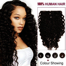 16 inches Natural Black (#1B) 7pcs Curly Clip In Indian Remy Hair Extensions