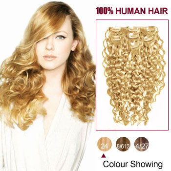 16 inches Ash Blonde (#24) 7pcs Curly Clip In Indian Remy Hair Extensions