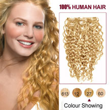 "16"" Strawberry Blonde (#27) 7pcs Curly Clip In Indian Remy Hair Extensions"