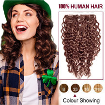 24 inches Dark Auburn #33 7pcs Curly Clip In Indian Remy Hair Extensions
