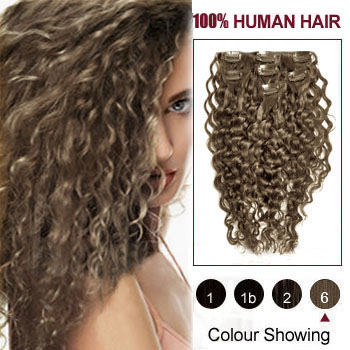 16 inches Light Brown (#6) 7pcs Curly Clip In Brazilian Remy Hair Extensions