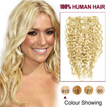 16 inches Bleach Blonde (#613) 7pcs Curly Clip In Indian Remy Hair Extensions