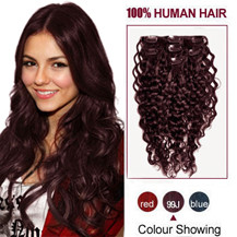 16 inches 99J 7pcs Curly Clip In Indian Remy Hair Extensions