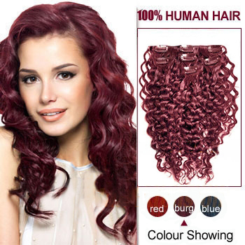 16 inches Bug 9PCS Curly Clip In Indian Remy Hair Extensions