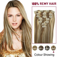 18 inches #12/613 7pcs Clip In Indian Remy Hair Extensions