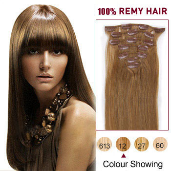 20 inches Golden Brown (#12) 7pcs Clip In Brazilian Remy Hair Extensions