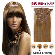 24 inches Golden Brown (#12) 7pcs Clip In Brazilian Remy Hair Extensions