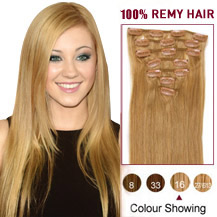 "16"" Golden Blonde (#16) 7pcs Clip In Brazilian Remy Hair Extensions"