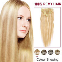 16 inches Blonde Highlight (#18/613) 7pcs Clip In Brazilian Remy Hair Extensions