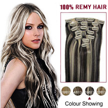 24 inches #1B/613 10PCS Straight Clip In Brazilian Remy Hair Extensions