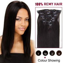 "24"" Natural Black (#1b) 10PCS Straight Clip In Brazilian Remy Hair Extensions"
