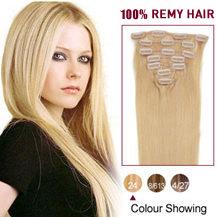 24 inches Ash Blonde (#24) 7pcs Clip In Indian Remy Hair Extensions