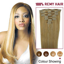 16 inches Blonde Highlight (#27/613) 10PCS Straight Clip In Indian Remy Hair Extensions
