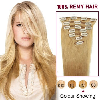 32 inches Strawberry Blonde (#27) 9PCS Straight Clip In Brazilian Remy Hair Extensions