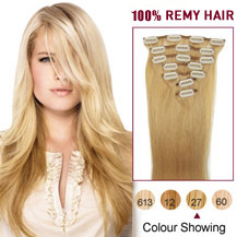 "16"" Strawberry Blonde (#27) 7pcs Clip In Indian Remy Hair Extensions"