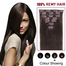 "16"" Dark Brown (#2) 7pcs Clip In Indian Remy Hair Extensions"