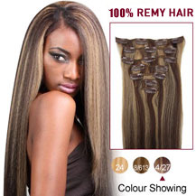 "20"" Brown/Blonde (#4_27) 7pcs Clip In Indian Remy Hair Extensions"