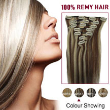 20 inches #4/613 7pcs Clip In Brazilian Remy Hair Extensions