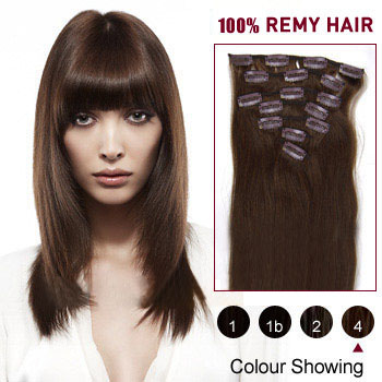 34 inches Medium Brown (#4) 7pcs Clip In Indian Remy Hair Extensions