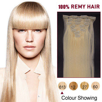 24 inches Bleach Blonde (#613) 7pcs Clip In Indian Remy Hair Extensions