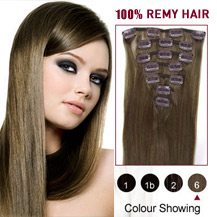 "16"" Light Brown (#6) 7pcs Clip In Indian Remy Hair Extensions"