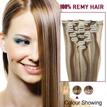 32 inches Brown/Blonde (#8/613) 7pcs Clip In Indian Remy Hair Extensions